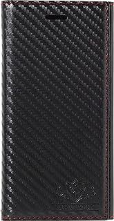 Natural Design 【iPhone 8/7ケース】 手帳型 FLAMINGO Carbon BlackxBlack 横開き レザー調 手帳型 カードポケット付 ハンドストラップ付 カーボン調レザー調