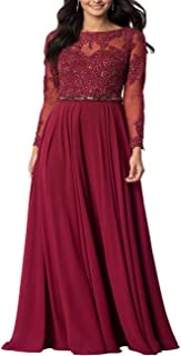 Roiii Women Embroidered Chiffon Prom Wedding Party Cleb Cocktail Formal Gowns Long Dress Size S-3XL
