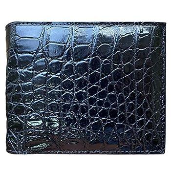 CHERRY CHICK Men s Stylish Genuine Leather Crocodile Wallet Durable Alligator Bifold Wallets Gift  Black-Belly 13-Horizontal