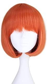 Miss U Hair Girl's Short Straight Harajuku Style Orange Bobo Hair Cosplay Party Wig (C092 30cm 200g)