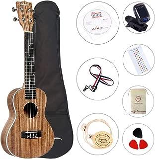 ADM Concert Ukulele 23 inch Hawaiian Solid Koa Wood Aquila Strings Adult Student Beginner Uke Bundle of Free Teaching CD Lesson, Gig Bag, Strap, Tuner, Strap, Fingerboard Sticker and Picks