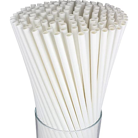 Friendly Straw 150 Pack Biodegradable Jumbo Smoothie Paper Straws FDA and...