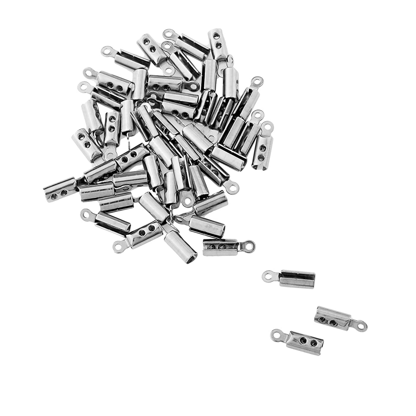 HooAMI Stainless Steel Silver Fold Over Cord Tip Ends Crimps Jewelry Findings 50pcs, 10x3mm