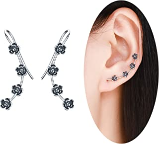 40f608bd2 BAMOER New Arrival 925 Sterling Silver Antique Black Daisy Flowers Crawler  Earrings for Women Teen Girls