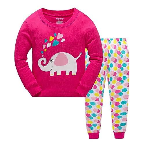369148670dc2c Qtake Mode de Noël Filles Pyjama Enfant Ensemble Vêtement de cerf 100%  Coton Little Kids