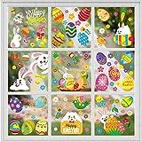 Adesivi per Finestre Pasqua, Stickers Uova di Pasqua, Decorazioni Pasqua Finestra, 10pcs Adesivi Coniglietti Pasquale, Vetrofanie per Pasqua Finestre, PVC Adesivo Sticker Pasquali