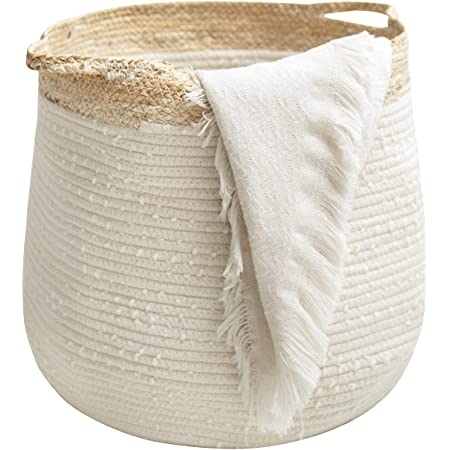 LA JOLIE MUSE ロープバスケット 収納バスケット 織り込み 洗濯物入れ