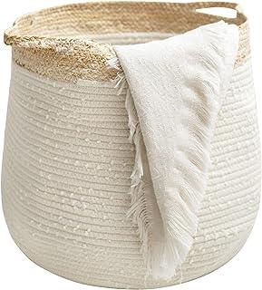 Rope Basket Woven Storage Basket - Laundry Basket Large 17.3x 15 x 14.1 Inches Cotton Blanket Organizer, Baby Nursery Cont...