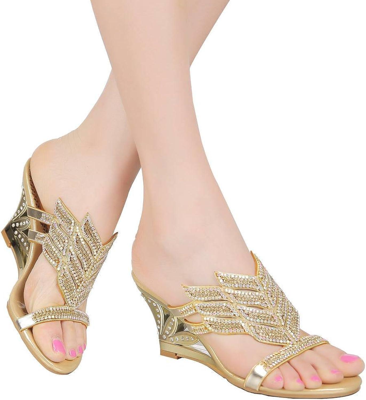 YooPrettyz Womens Sandal Wedge Heel Strap Comfort Wedding Prom Party Sandal Heels