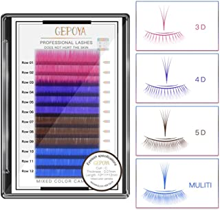 Individual Multi-Colored Eyelash Extensions 0.07mm Thickness C Curl GEPOYA Platinum 3D Layer Camellia Volume Lash- Mixed 3 Lengths in 1 Root and 4 Colors in 1 tray- Professional Salon Use