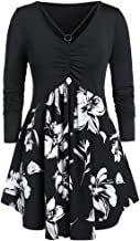 TWGONE Women V-Neck High Waist Blouse Top Plus Size Long Sleeve Floral Printed Ruched Mini Dress