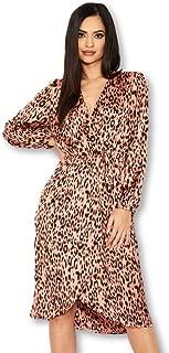 AX Paris Women's Leopard Print V-Neck Wrap Dress