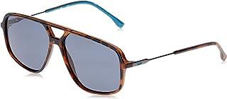 نظارة شمسية مستطيلة للرجال من لاكوست تصميم اشرطة وانابيب لون هافانا