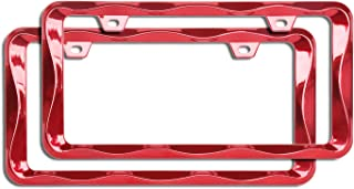 Sgooky 3D Curly Wave Pattern License Plate Holder Chrome License Plate Frame from Pure Zinc Alloy Metal Perfect Plate Holder (2pcs, Shining red)