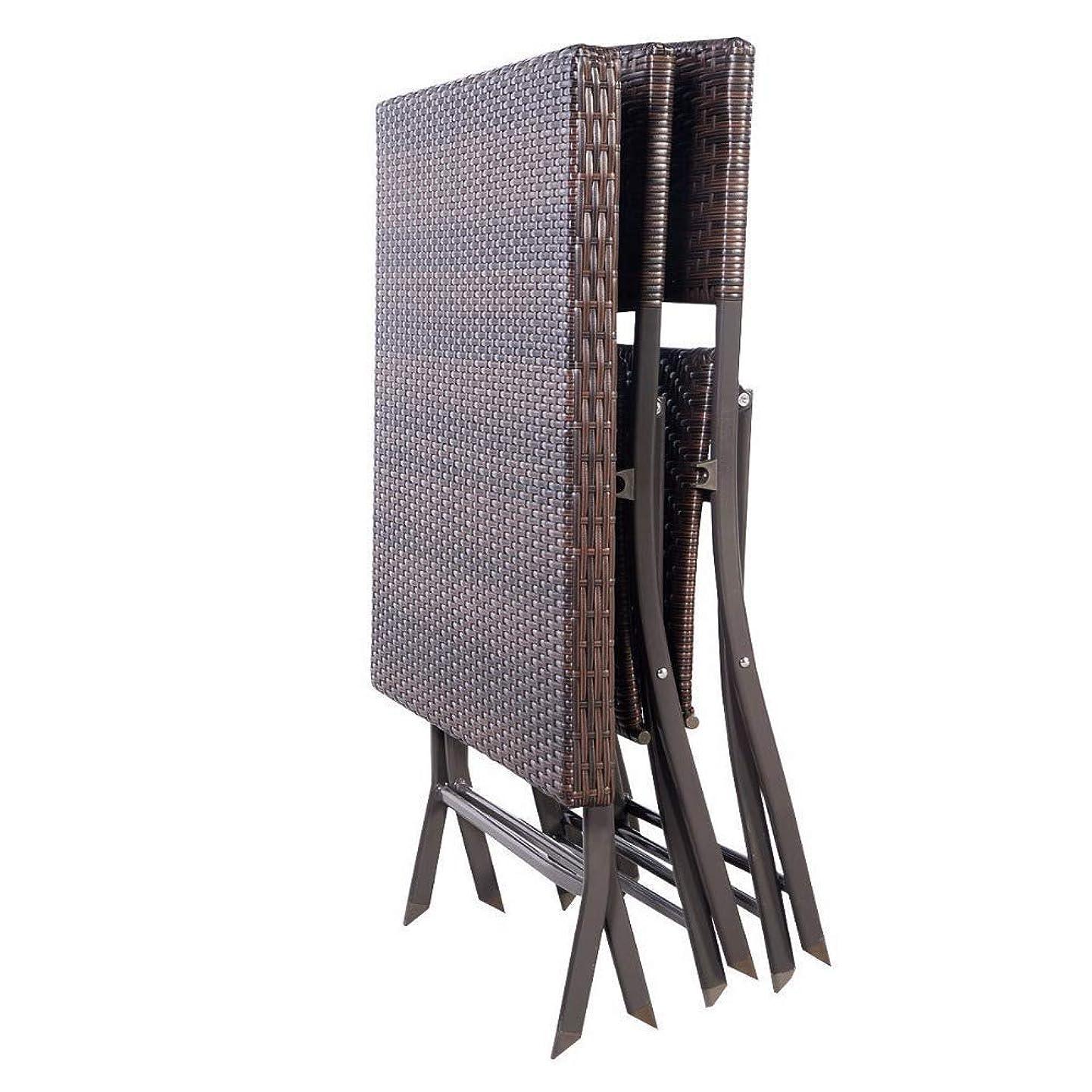 愛情深いすずめ事前3ピース屋外折りたたみテーブルチェア家具セット籐ウィッカービストロパティオブラウン屋外家具 - 椅子&ガラストップコーヒーテーブルセット
