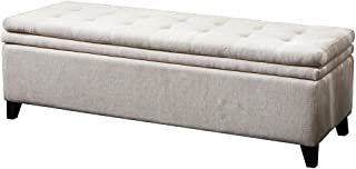 Christopher Knight Home 232959 Sandford Fabric Upholstered Storage Ottoman Bench, Off White