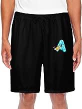 ZOENA Men's Cool Ocean Animal Alphabet A Cartoon Short Running Pants Black