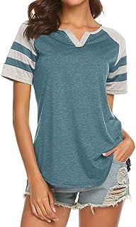 Locryz Women's Summer V Neck Raglan Short Sleeve Shirts Casual Blouses Baseball Tshirts Top