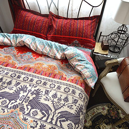 LELVA 4 Piece Bohemian Bedding Set Ethnic Exotic Style Boho Bedding Duvet Cover Set King Size Cotton Fitted Sheet