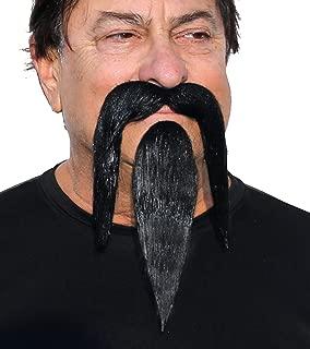 Fu Manchu Fake Beard and Mustache, Self Adhesive Shaolin False Facial Hair Novelty for Adults