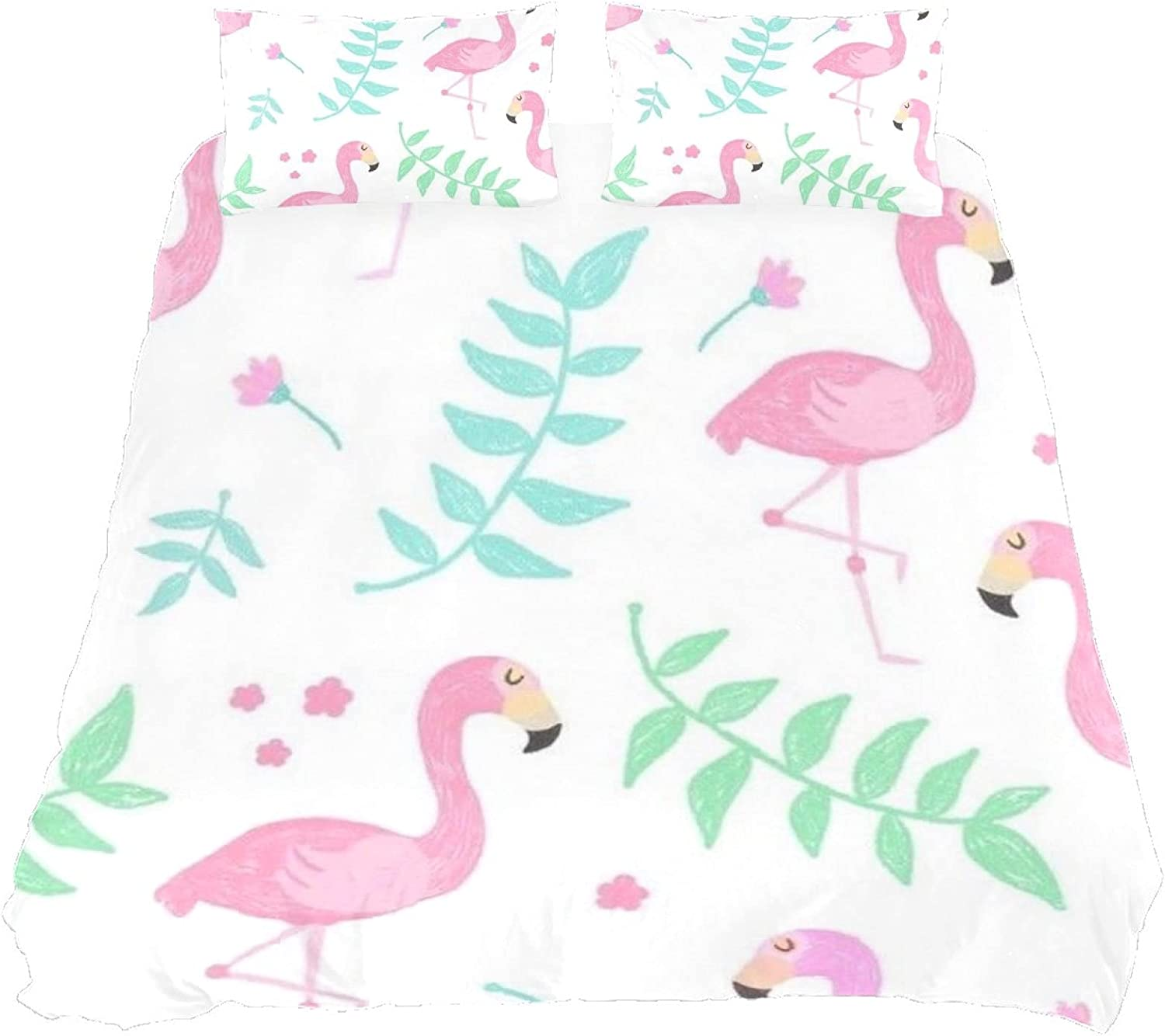 N\O Coverlet Set Cute Flamingo Painting with Zip 3 New mail order Bed Piece Limited time sale