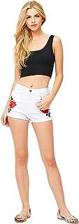Vibrant Women's Juniors High Rise Rosey Denim Shorts
