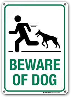 Beware of Dog Sign, Outdoor Rust-Free Metal, 10