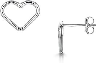 Amberta Fine 925 Sterling Silver - Pair of Stud Earrings - Hearts Shape Style Set - Ear Piercing