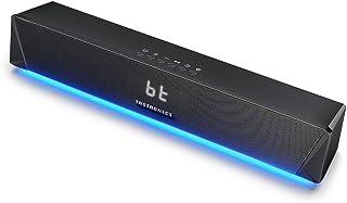 TaoTronics サウンドバー Bluetooth 5.0 PC スピーカー 14W出力 デュアルパッシブラジエーター ゲーム向きLEDライト付 ストップウォッチ機能付 壁掛け可 【12ヶ月+18ヶ月間保証】 TT-SK027
