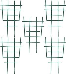 DOITOOL 5PCS Plastic Garden Trellis for Climbing Plants,Garden Trellis Plant Support for Climbing Trellis,Flower,Vegetable,Cucumber Trellis (Green,30.5x18.5x0.5cm)
