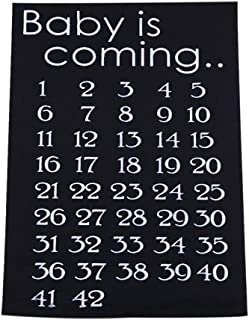 Docooler Baby is Coming Maternity Women Calendar Countdown Pregnancy Mark Off Baby Announcment Baby Birth Countdown 42 Weeks Cloth Accessory Black