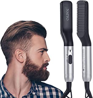 NAIYO Beard Straightener Brush, Electric Beard Straightener and Hair Straightener, Multifunctional Beard and Hair Straightening Brush Comb for man, Heat Beard Straightener and Hair Straightener Brush