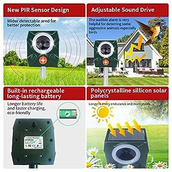 STCLIFE Répulsif solaire pour chat, ultrasons, étanche, alimenté avec alarme, pour chats, chiens, oiseaux, renards, jardin, cour, champ, ferme (lot de 1)