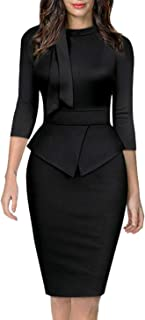 Women's Tie Neck Vintage Bodycon Peplum Business Formal...