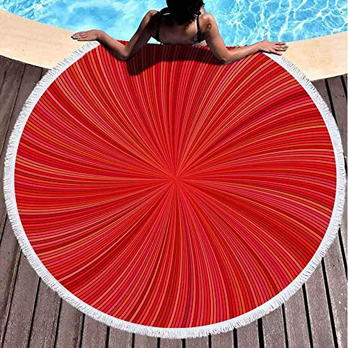Runder Handtuch Strand, Mädchen Strandtuch rot abstrakt gestreifte Spirale Hintergrund Grafik Gebogene Strahlen 59 '