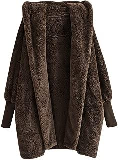 Women's Winter Warm Oversized Dolman Sleeve Hooded Sweatshirt Coat Faux Fur Fluffy Pockets Cardigan Outwear