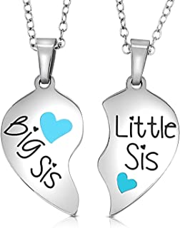 Big Sis & Little Sis Heart Necklace Set, Sister Necklace Jewelry Gift Set for 2