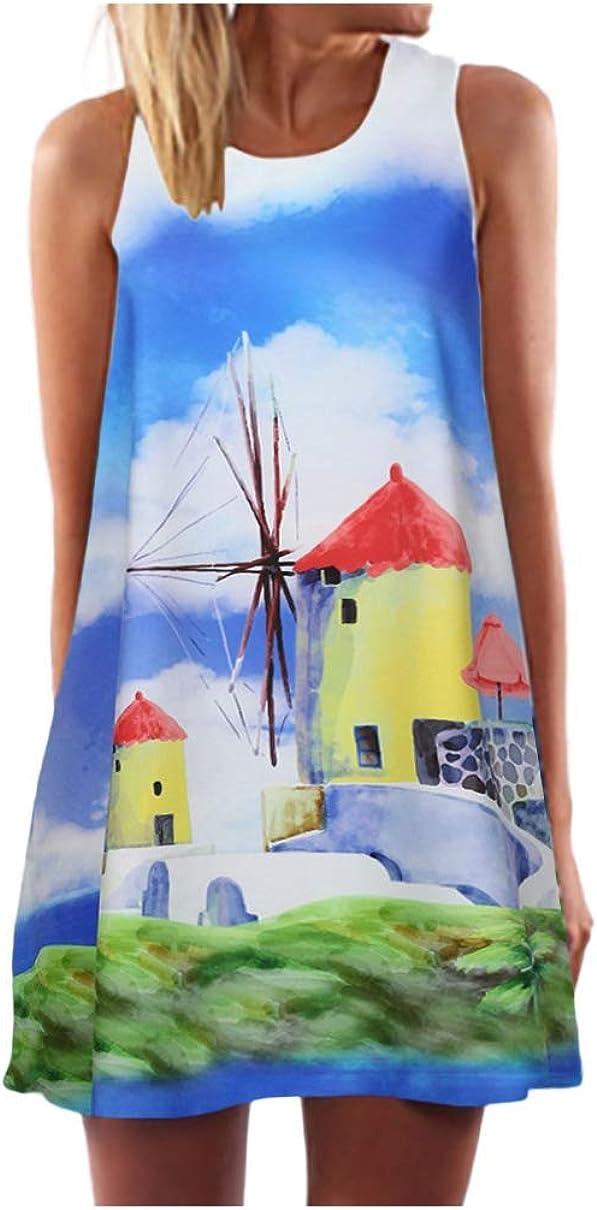Kinsaiy Dresses for Women Casual Summer Plus Size, Loose Round Neck Sleeveless Mini Tank Dress Boho Beach Sundress