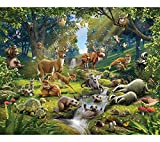 Walltastic Animals of The Forest Wallpaper Mural 8ft by 10ft, Multicoloured