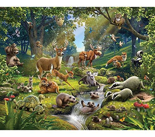 Walltastic Tiere des Waldes, Tapete, Wandbild, Papier, Multi, 8 x 10 ft