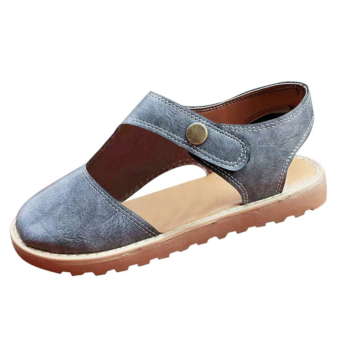 〓COOlCCI〓Women Retro Round Toe Sandals Sling Back Hook & Loop Sandals Flats Breathable Leather Shoes Flat