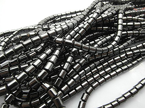 jennysun2010 Grade AAA Healing Natural Magnetic Hematite 8x8mm Drum Gemstone 15.5 Inches Beads 1 Strand for Bracelet Necklace Earrings Jewelry Making Crafts Design Healing