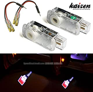 Kaizen 2 Pcs OEM Fit Super Bright LED Laser Ghost Shadow CREE Door Step Courtesy Welcome Light Lamps For Audi A4 A6 R8 Q3 CAN-bus No Error Logo
