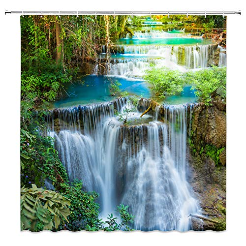 "XZMAN Forest Waterfall Shower Curtain Nature Rainforest Green Tree Spring Landscape Seasonal Polyester Bathroom Decor Set Include Hooks,(70"" WX70 H)"