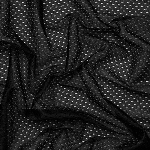 Coolmax® Mesh - Tela de malla - Secado rápido y absorbe la humedad - Por metro (Negro)