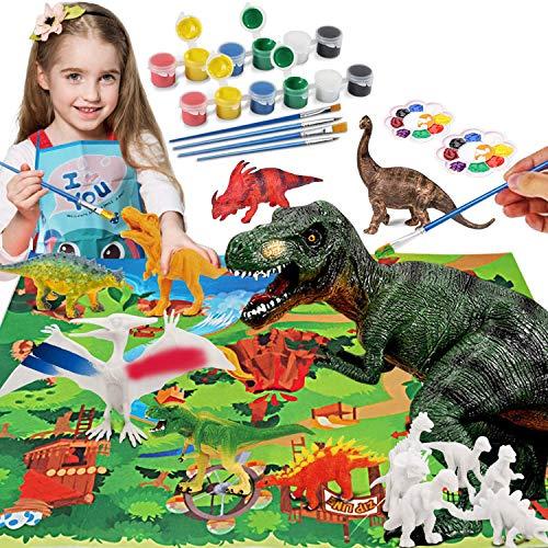 Bdwing Dinosaurier Malset für Kinder, Figuren Bemalen und Basteln Sie Ihre eigenen Dinosaurier, DIY 3D Malspielzeug für Jungen Mädchen, Dinosaurier Spielzeug Set Geschenke für Kinderen