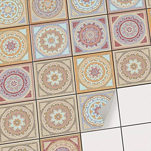 Fliesenaufkleber für Küchenspiegel und Badfliesen I Fliesenfolie - Vinyl Mosaik-Fliesen I selbsklebend, abwaschbar und rückstandslos ablösbar I 15x15 cm - Motiv Mosaik Afrika - 9 Stück