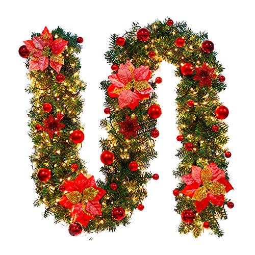 Fliyy Weihnachtsgirlande mit Lichtern, 2,7 m, künstliche, dekorierte Weihnachtsgirlande, Rattan-Hängekranz, Ornament mit LED-Licht für Kamin, Treppe, Hochzeit, Hintergrund, Bogen Wanddekoration