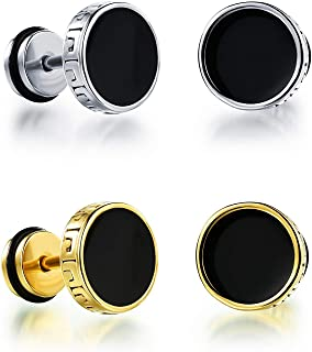 6801a0b3e Miami Fashion Jewellery Gold Stainless Steel Black Studs Earings/Earrings  for Men/Boys/