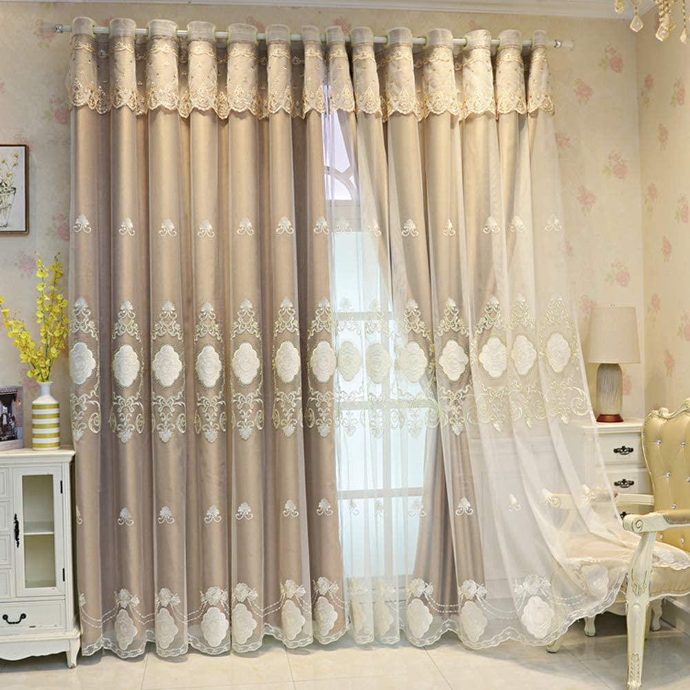 Dealing full price reduction Double Layer Blackout Curtain for Lace Girls bedroom Embroi Boys Gorgeous
